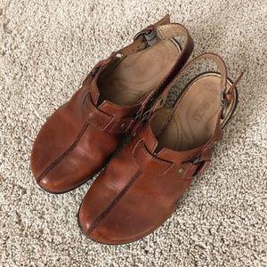 BORN Leather Slingback Clogs
